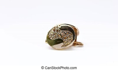 Gold Earring Rotating on White Background