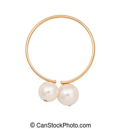Gold earrings with pearl isolated on white