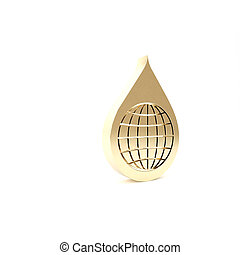 Gold Earth planet in water drop icon isolated on white background. World globe and water drop. Saving water and world environmental protection. 3d illustration 3D render