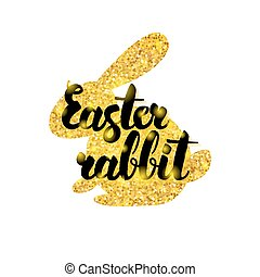 Gold Easter Rabbit Greeting