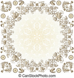 Gold easter round frame with vintage floral border and...