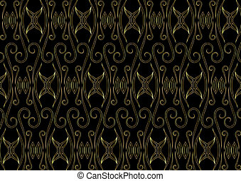 Gold easterly pattern on a black
