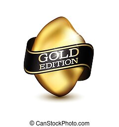 gold edition illustration - Piece of Gold with Black Ribbon...