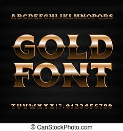 Gold effect alphabet font. Bold metallic letters, numbers and symbols with bevel.