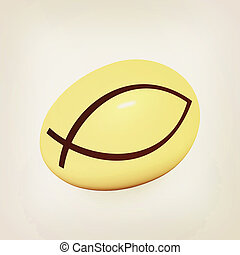 "Gold egg with a symbol of Christianity ""ichthys""(Jesus Christ is the Son of God Savior). 3D illustration. Vintage style."