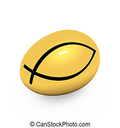 """Gold egg with a symbol of Christianity """"ichthys""""(Jesus..."""