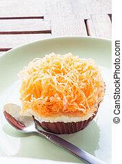 Gold egg yolk thread cup cake up close