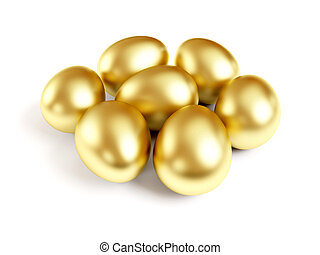 Gold eggs isolated on white background.