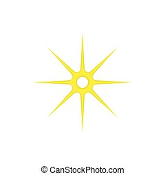 Gold eight pointed star icon, cartoon style