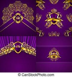 gold, elegant, aufwendig, filigran, hintergruende, blumen-, weinlese, style., rahmen, elemente, satz, blazon, luxus, verzierung