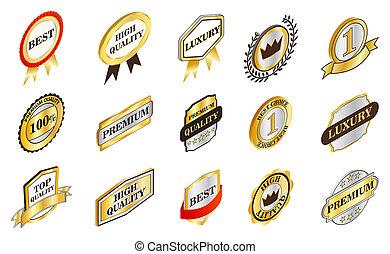 Gold emblem icon set, isometric style