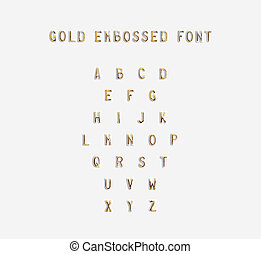 Gold embossed alphabet isolated, 3d illustration
