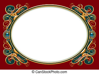Gold Emerald Text Frame