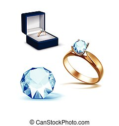 Gold Engagement Ring Light Blue Shiny Clear Diamond Jewelry...