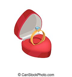Gold Engagement Ring with Blue Diamond In Red Box