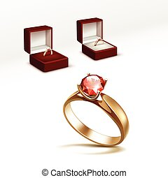 Gold Engagement Ring with Diamond in Jewelry box