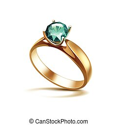 Gold Engagement Ring with Emerald Shiny Clear Diamond Isolated