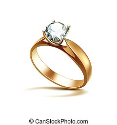Gold Engagement Ring with White Shiny Clear Diamond Isolated