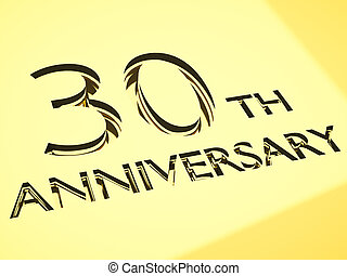 anniversary - gold engraving of 30th anniversary words, for...