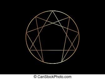 Gold Enneagram icon, sacred geometry, golden vector ...