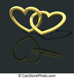 Gold Entwined Hearts - background illustration, vector