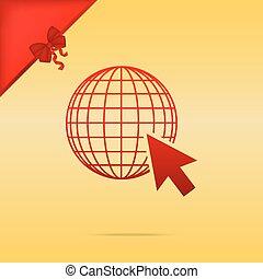 gold, erdball, cursor., cristmas, hintergrund., design, erde, rotes , ikone