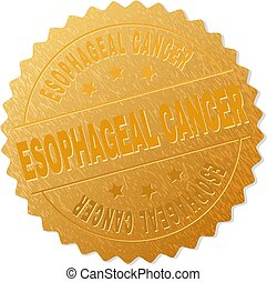 ESOPHAGEAL CANCER gold stamp seal. Vector gold award with ESOPHAGEAL CANCER text. Text labels are placed between parallel lines and on circle. Golden skin has metallic effect.