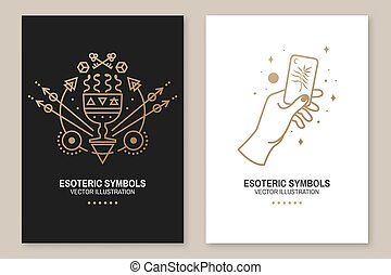 Gold esoteric symbols. Vector. Thin line geometric badge. ...
