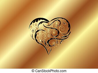 GOLD ETCHED HEART