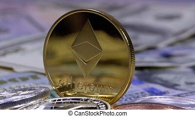 Gold Ethereum Coin, ETH and Bills of Dollars are Rotating