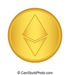 Gold Ethereum coin icon. golden Cryptocurrency coin money. ...