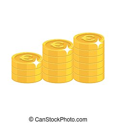 Gold euro coins. Having a lot of money and possessions...