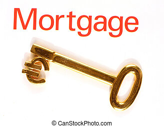 Gold euro mortgage key - A gold key with the euro currency...