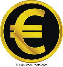 Gold euro sign button
