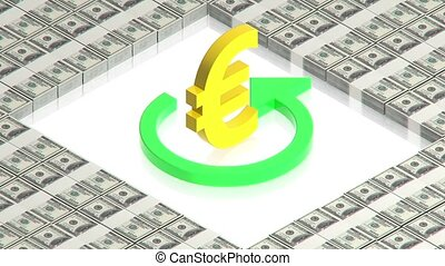 Gold euro sign on dollars - part of isometric collections of...