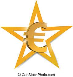 gold euro Symbol illustration design