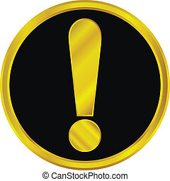 Gold exclamation mark sign button