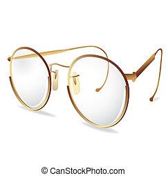 Gold eye glasses - Gold eye Glasses. Vector illustration....