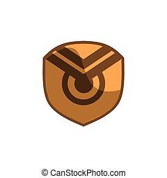 gold eyes shield icon logo concept