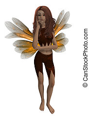 Gold Fairy - Gold fairy in a thinking pose