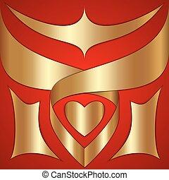 gold, farbe, abstrakt, vektor, hintergrund, geschenkband