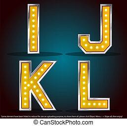 gold, farbe, silber, schlag, mit, lampen, alphabet