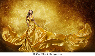 Gold Fashion Model Dress, Woman In Golden Silk Gown Flowing Fabric, Beautiful Girl on Stars Sky looking up