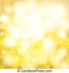 Gold Festive Christmas background Elegant abstract background with bokeh defocused lights and stars
