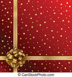 Gold festive ribbon with bow on red background
