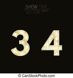Gold figures 3 and 4 with a curly pattern. Beautiful, flashing light bulbs. Realistic vector illustration on a dark background for shows and presentations
