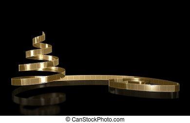 Gold Film on black background