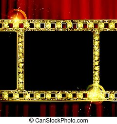 gold film on the curtain backdrop.