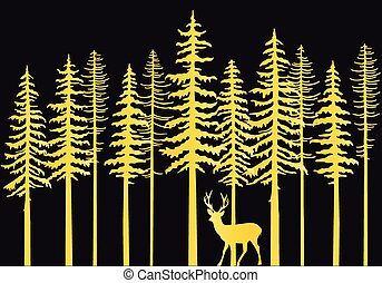 Gold fir trees with deer, vector illustration