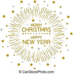 Gold firework and merry christmas and happy new year on white background
